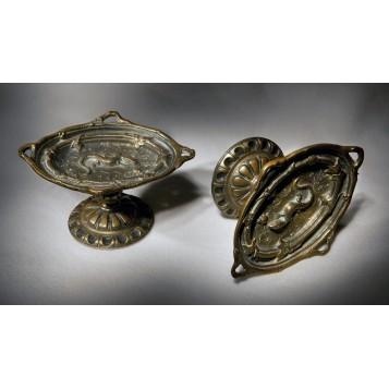 Пара старинных бронзовых пепельниц – мелочевниц Ящерица