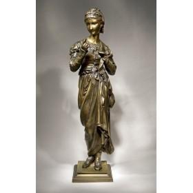 Антикварная бронзовая статуя Белошвейка скульптора Adrien Gaudez