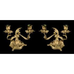 Антикварная пара канделябров из бронзы Рококо