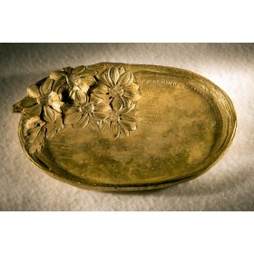 Антикварное настольное плато-визитница  из бронзы - Ромашки
