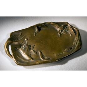 Старинный поднос из бронзы - Лилии - A. Bouny