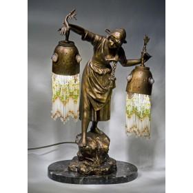 Антикварная фигурная лампа модерн с двумя плафонами