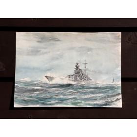 Продается старинная акварель военного линкора Tirpitz периода WW2