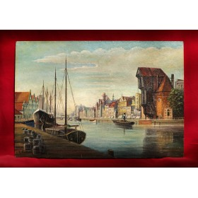 Антикварная картина набережная Данцига.