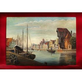 Продается антикварная картина набережная Данцига в подарок и в интерьер