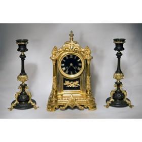 Антикварный каминный гарнитур с часами Auguste Fenon