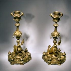 Антикварная пара подсвечников из бронзы Птица-дракон - для подарка и в интерьер