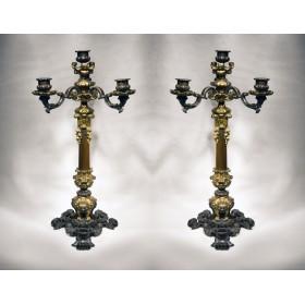 Старинная пара бронзовых канделябров стиль Louis XVI