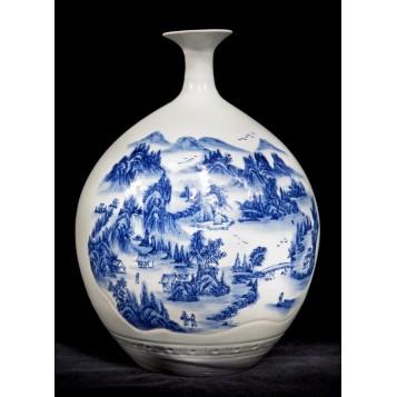 Восточный антиквариат, старинная ваза фарфор Пейзаж