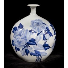 Восточный антиквариат, китайский фарфор, ваза Пионы