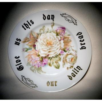Старинная тарелка, купить антикварный фарфор в подарок, тарелка Чайные розы