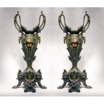 Парные старинные бронзовые вазоны Наполеон III - купить в подарок