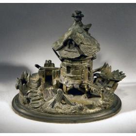 Антикварная чернильница Мельница у ручья