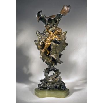 Антикварная бронзовая ваза Морская раковина - купить для интерьера