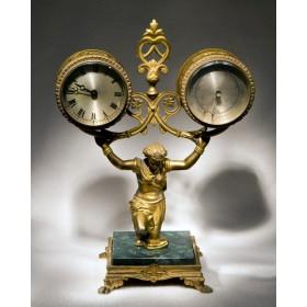 Старинные настольные часы с барометром