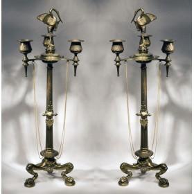 Старинная пара канделябров из бронзы Ибис