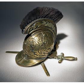 Старинная бронзовая чернильница в подарок – Шлем драгуна