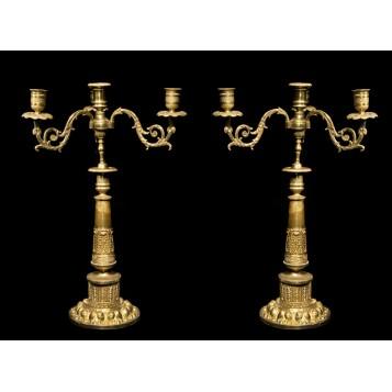 Антикварные канделябры из бронзы АМПИР