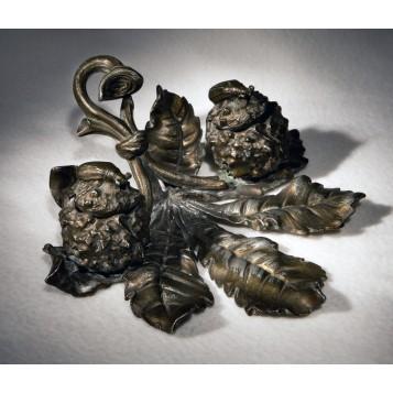 Старинный чернильный прибор Каштан, антикварная бронза в подарок