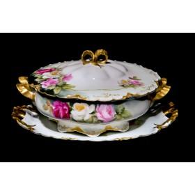 Антикварная супница розы Limoges