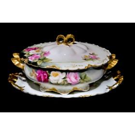 Антикварная супница розы Limoges - купить в подарок в Москве