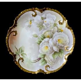 Антикварная тарелка белые розы Coronet Limoges