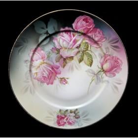 Антикварная тарелка кабинетная розы Striegau