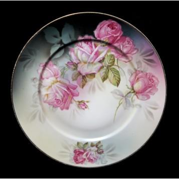 Антикварная тарелка кабинетная розы Striegau купить в подарок