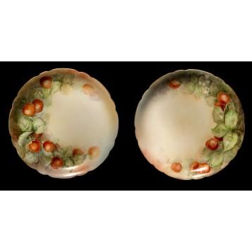 Антикварные тарелки пара Клубника Jean Pouyat Limoges