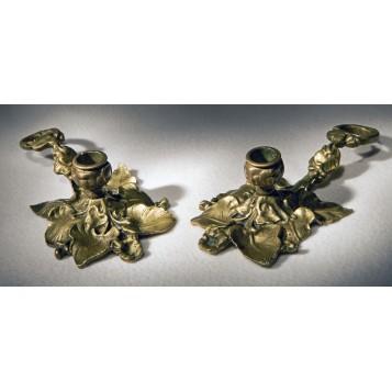 Пара старинных подсвечников из бронзы Ипомея - купить в подарок