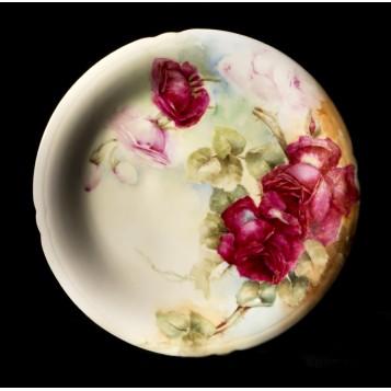 Антикварная тарелка Розы мама Ehram, кпуить фарфор JP Limoges