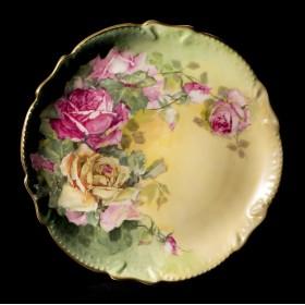 Старинная кабинетная тарелка Розы Burog