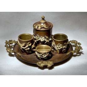 Старинный набор для курения - Цветы, антикварная бронза