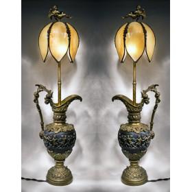 Пара ламп с кувшинами из старинной бронзы - Купидоны