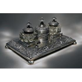 Старинный чернильный прибор Magicians, антикварная бронза в подарок