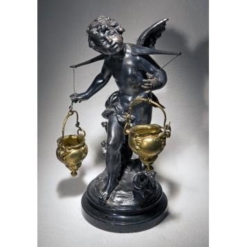 Продается антикварная статуэтка Купидон с чашами, купить бронзу в подарок