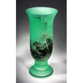 Антикварная ваза из богемского стекла модерн, старинные вещи в подарок