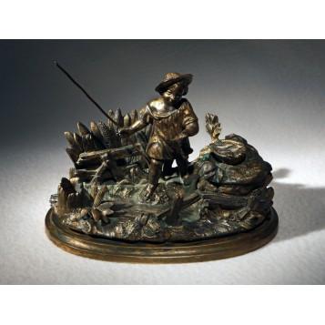 Антиквариат в интерьер, бронзовый чернильный прибор Le petit pêcheur