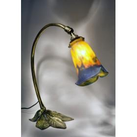 Старинное стекло модерн, лампа французского ар нуво Каштан