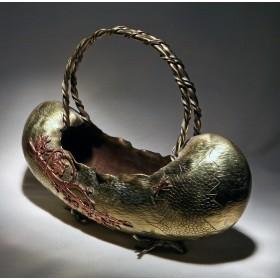 Антикварная бронзовая корзинка - ваза Fune