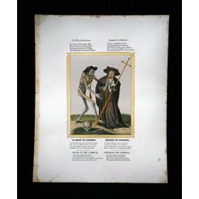 Старинная литография Dance of Death CARDINAL
