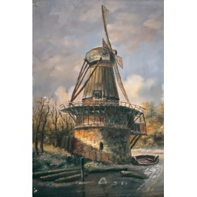 Антикварная картина Зимний пейзаж - купить