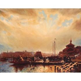Антикварная картина Одесская пристань