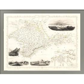 Старинная карта. Крым с планом Севастополя. 1851 год. Рапкин