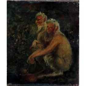 Антикварная картина Дикие люди