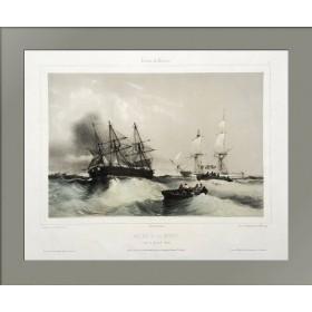 Старинная литография Морской этюд N15. 1844 год.
