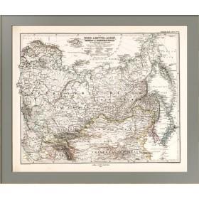 Российская империя, Монголия, Персия и Китай. Старинная карта. 1875  год.