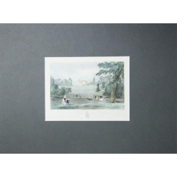 """Антикварная гравюра """"Pains Hill, Surrey"""", XIX век.Англия."""
