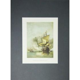 Антикварная гравюра Военный корабль середины 17 века.