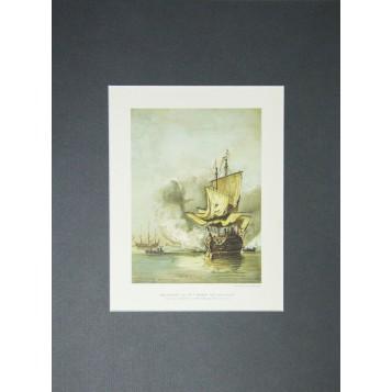 """Антикварная гравюра """"Военный корабль середины 17 века""""."""